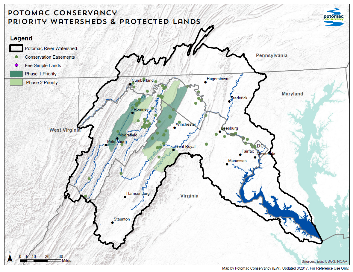 Potomac Conservancy Conservation Easement Properties and Priority areas