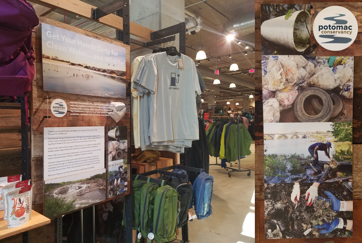 Patagonia's new display featuring Potomac Conservancy's conservation efforts located at the REI DC flagship store.