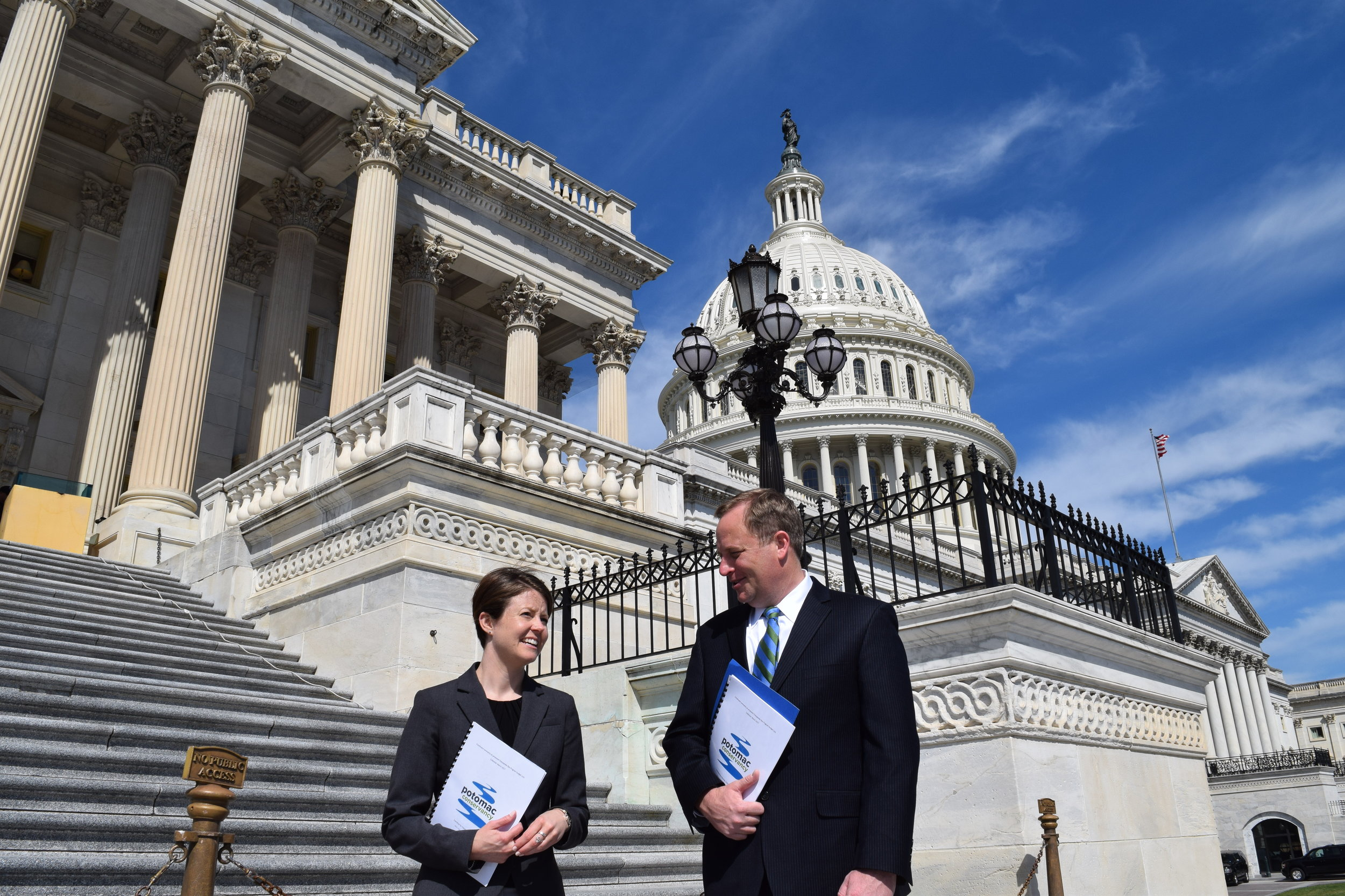 Potomac Conservancy Policy Director, Caitlin Wall, and Potomac Conservancy President, Hedrick Belin, Advocating for clean Water on Capitol Hill