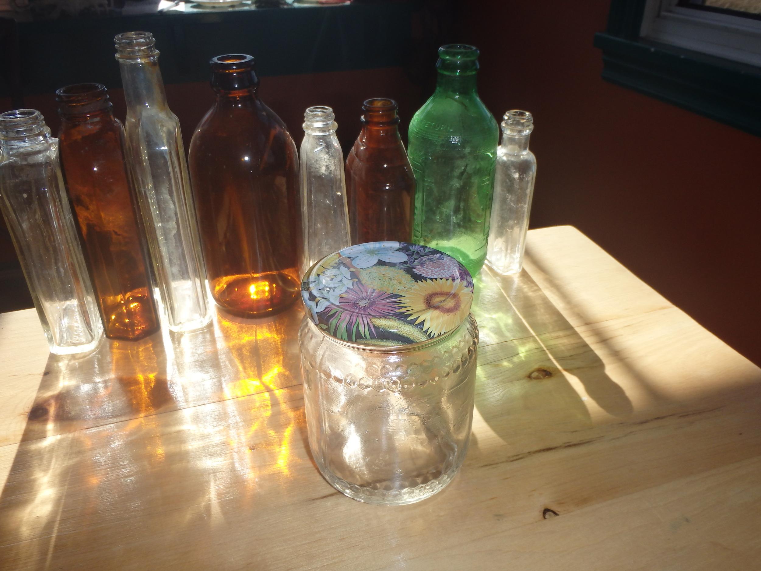 Reuse glass jars for creams.
