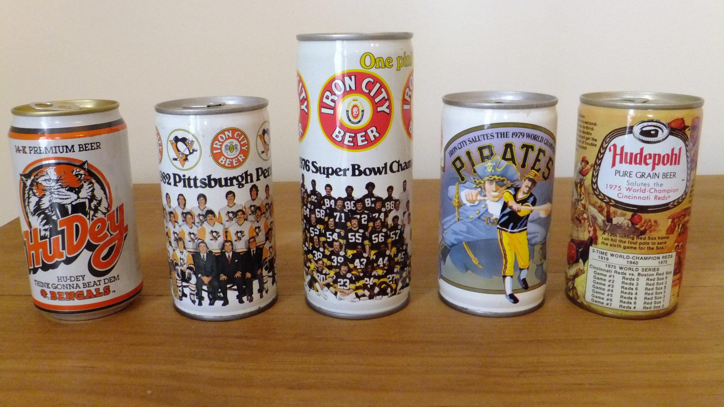 1988 Cincinnati Bengals (Hudepohl-Schoenling Brewing), 1982 Pittsburgh Penguins (Pittsburgh Brewing), 1976 Pittsburgh Steelers (Pittsburgh Brewing), 1979 Pittsburgh Pirates (Pittsburgh Brewing), 1975 Cincinnati Reds (Hudepohl Brewing)