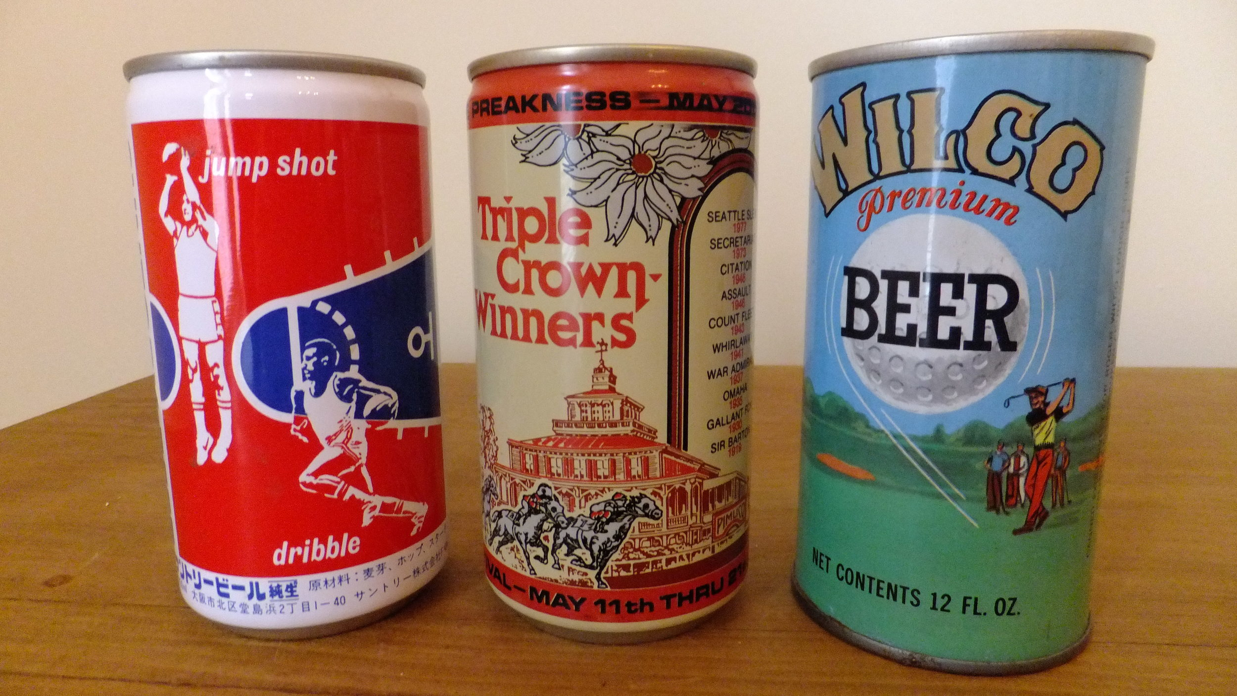 Basketball (Suntory Beer, Japan), 1978 Preakness Horse Race (Carling Breweries, Baltimore, Maryland), Wilco (Colonial Brewing, New Jersey)