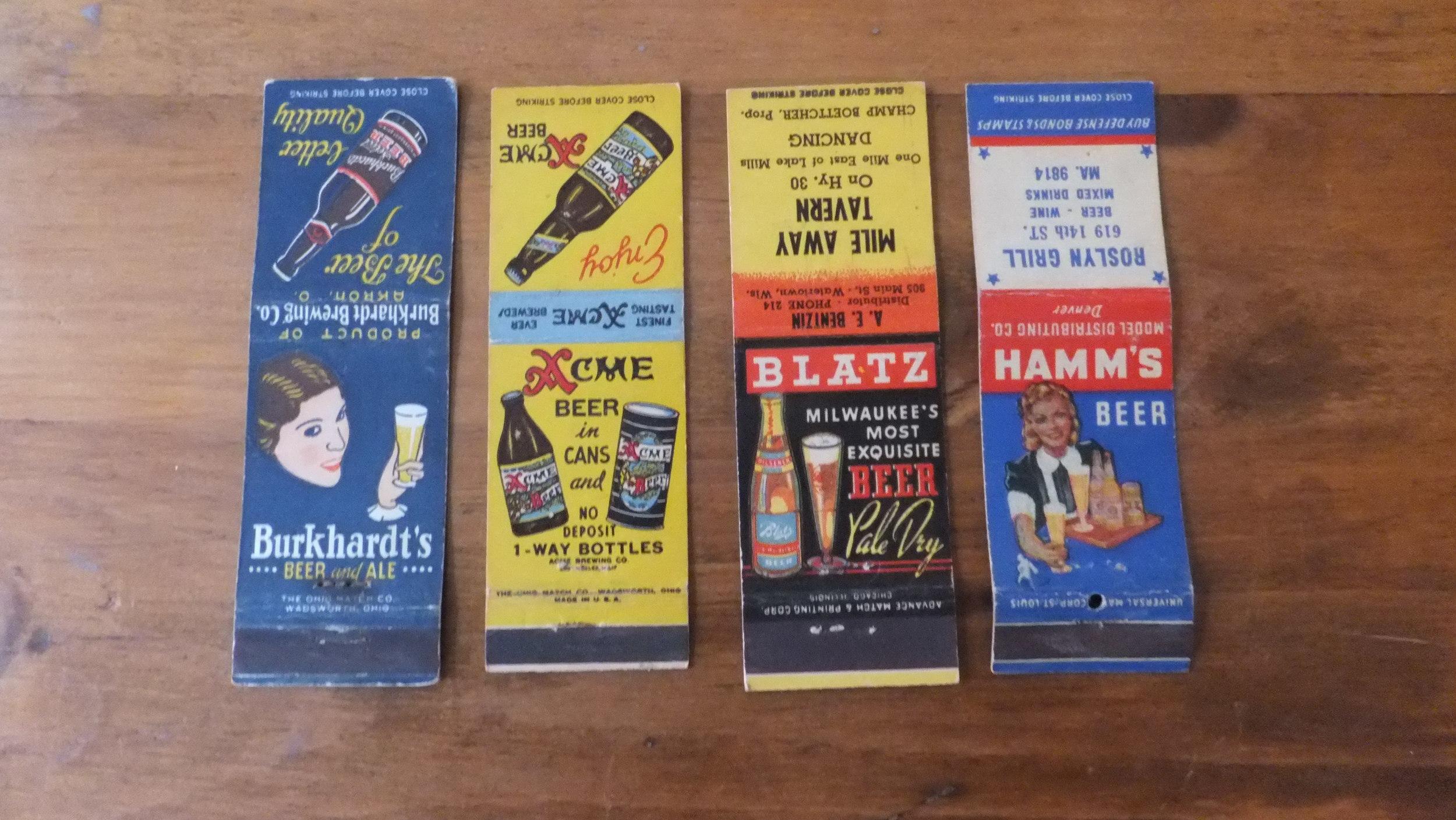 Burkhardt's (Akron, OH), Acme (California), Blatz (Milwaukee, WI), Hamm's (St.Paul, MN).