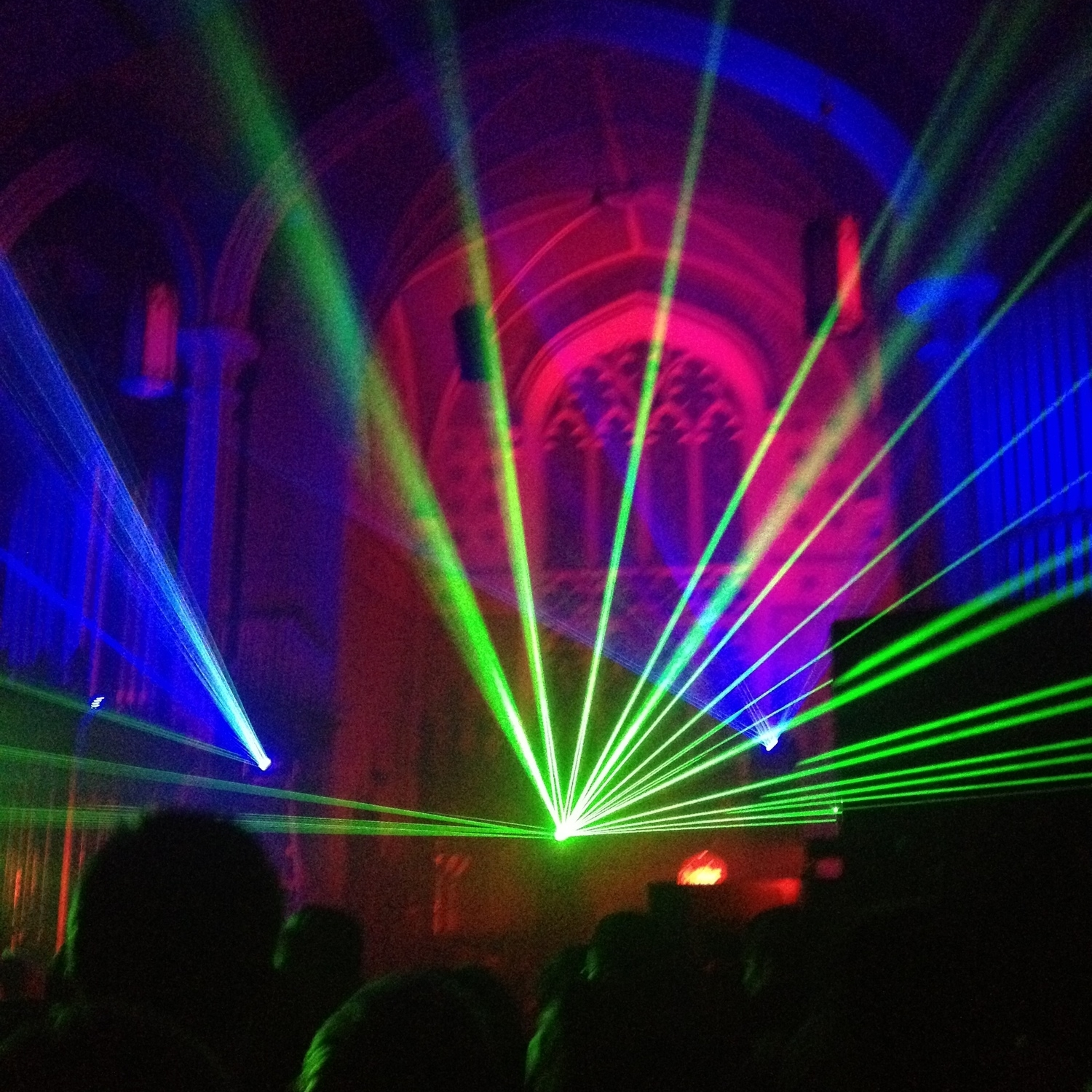 A photo I took in high school at a Zeds Dead (dubstep) show which took place in a church.