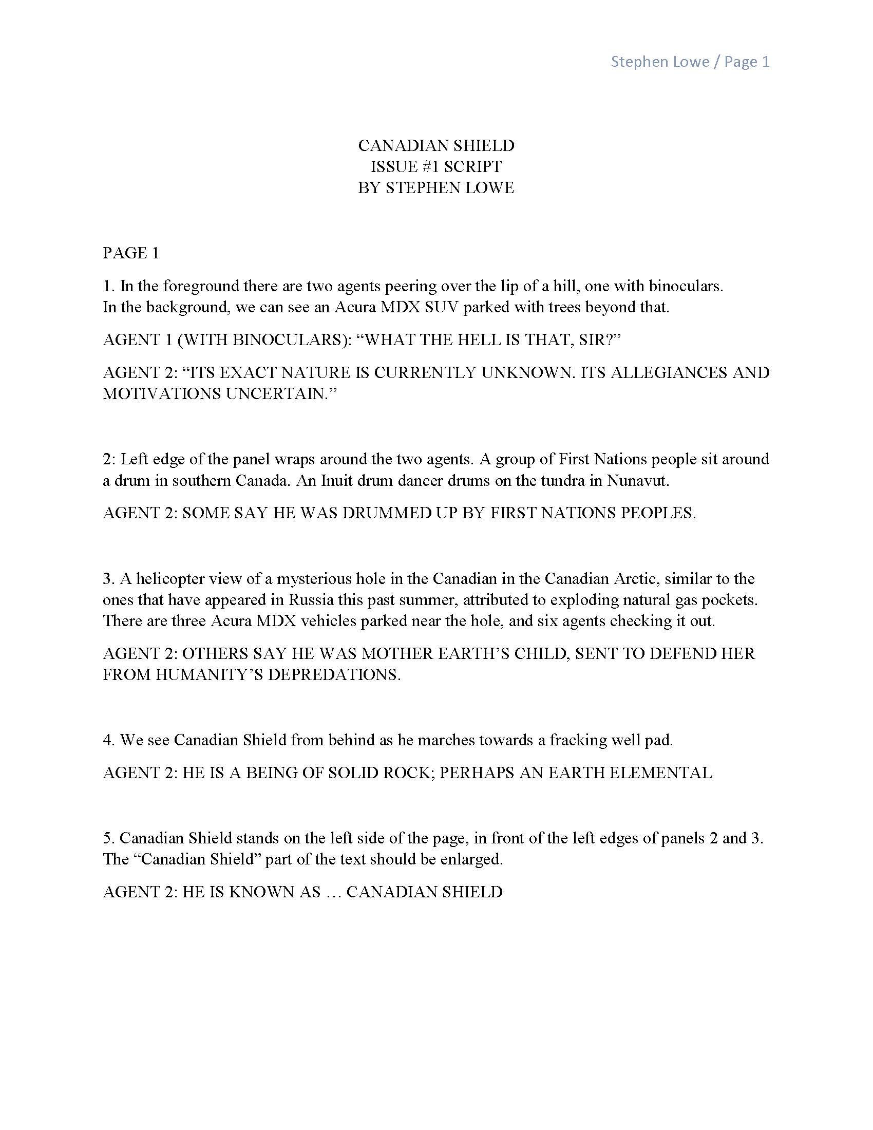 Revised Script for Canadian Shield