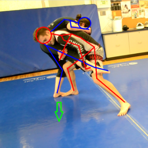 (Red) - The right knee is placed between the legs of Blue while simultaneously ducking and grabbing the right leg  as shown.  The leg is then whipped to the outside in a quick swinging motion. Done properly,  this will cause Blue to  lose balance . Red will fall with blue ending up in either the guard or half guard position.