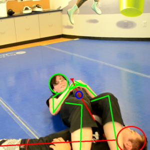 (Green)- An arm-bar can be performed from a few different positions but it always ends up looking something like this. Green has their legs on either side of Red's right arm and each leg over the chest. Green clasps Red's forearm just before the wrist and twists until Red's palm is facing upwards. Green then arches their back, pulls on the arm and pushes Red down with the legs. This bends the arm at the elbow (blue). It is easy to dislocate the elbow from here.