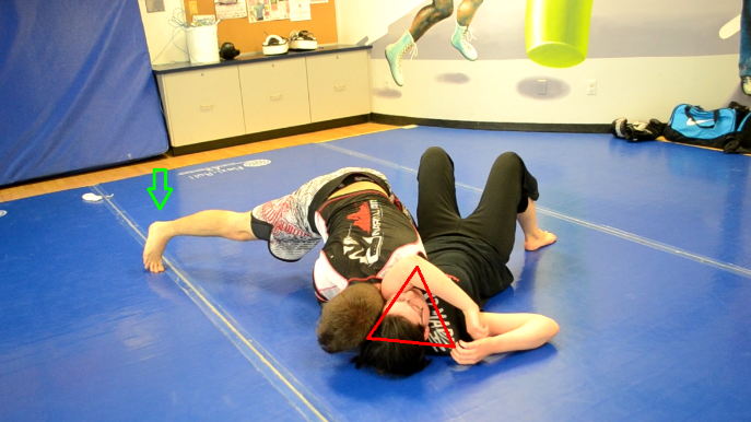 The Arm-Triangle Choke:  The arm-triangle choke is performed from the side control position. The head and arm are hugged while using shoulder pressure to force a choke.