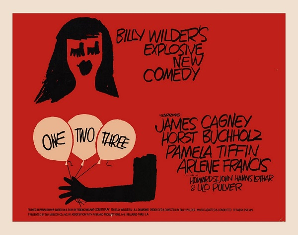 The poster for the film One, Two, Three. Image Source:http://spicyip.com/wp-content/uploads/2013/10/one-two-three-movie-poster-1020372727.jpg