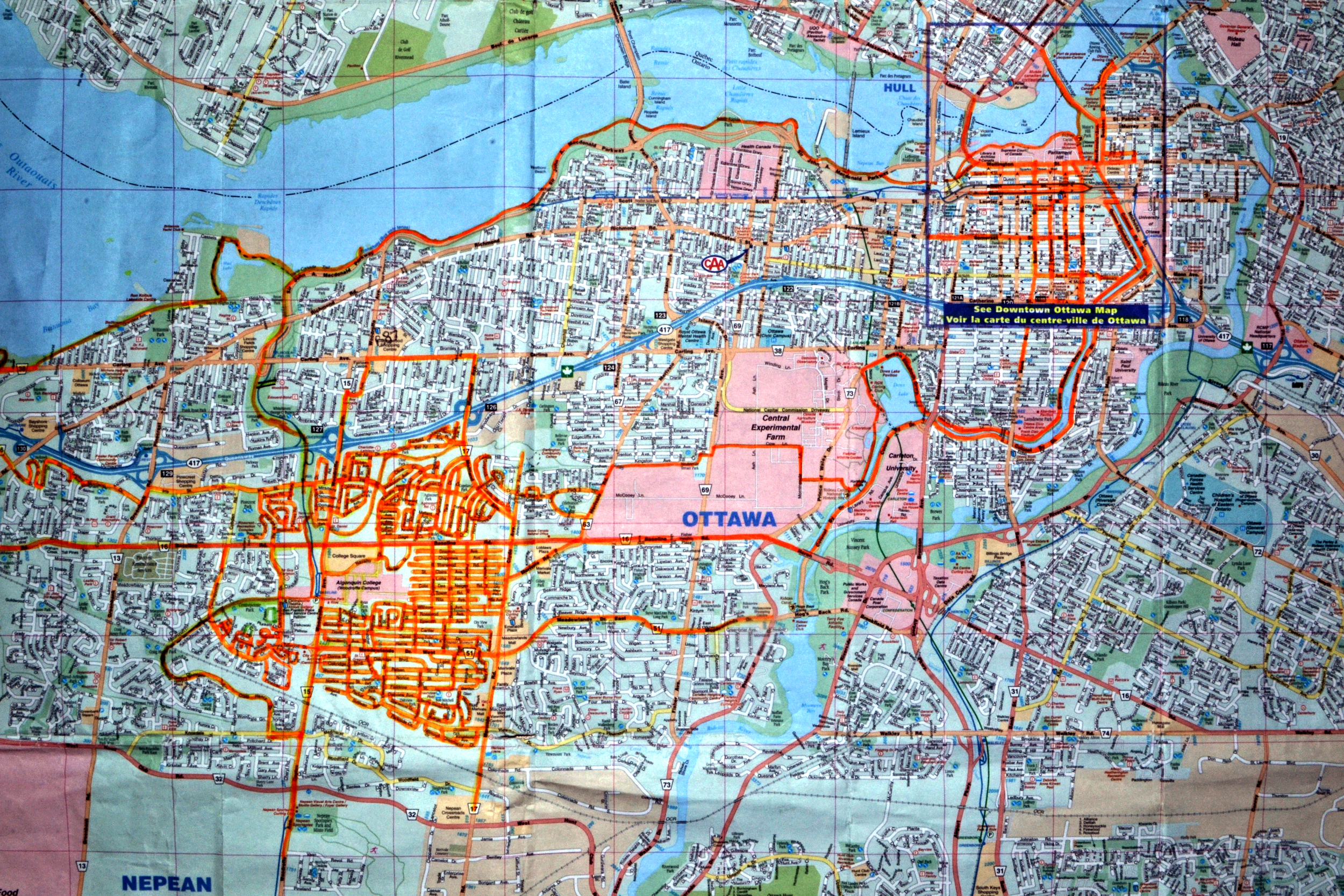 Every where that is highlighted orange is where I have been.