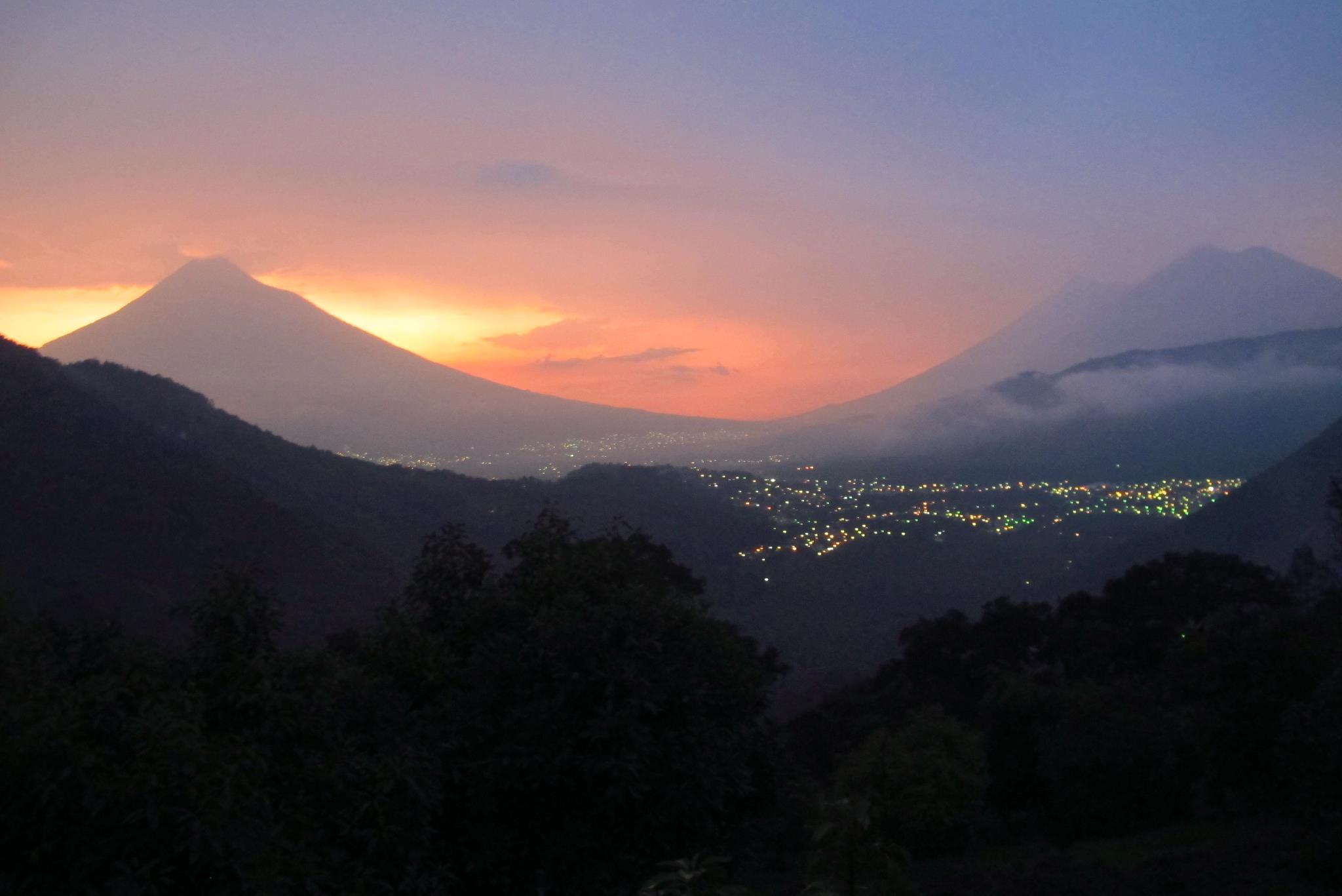Sunset over antigua, guatemala