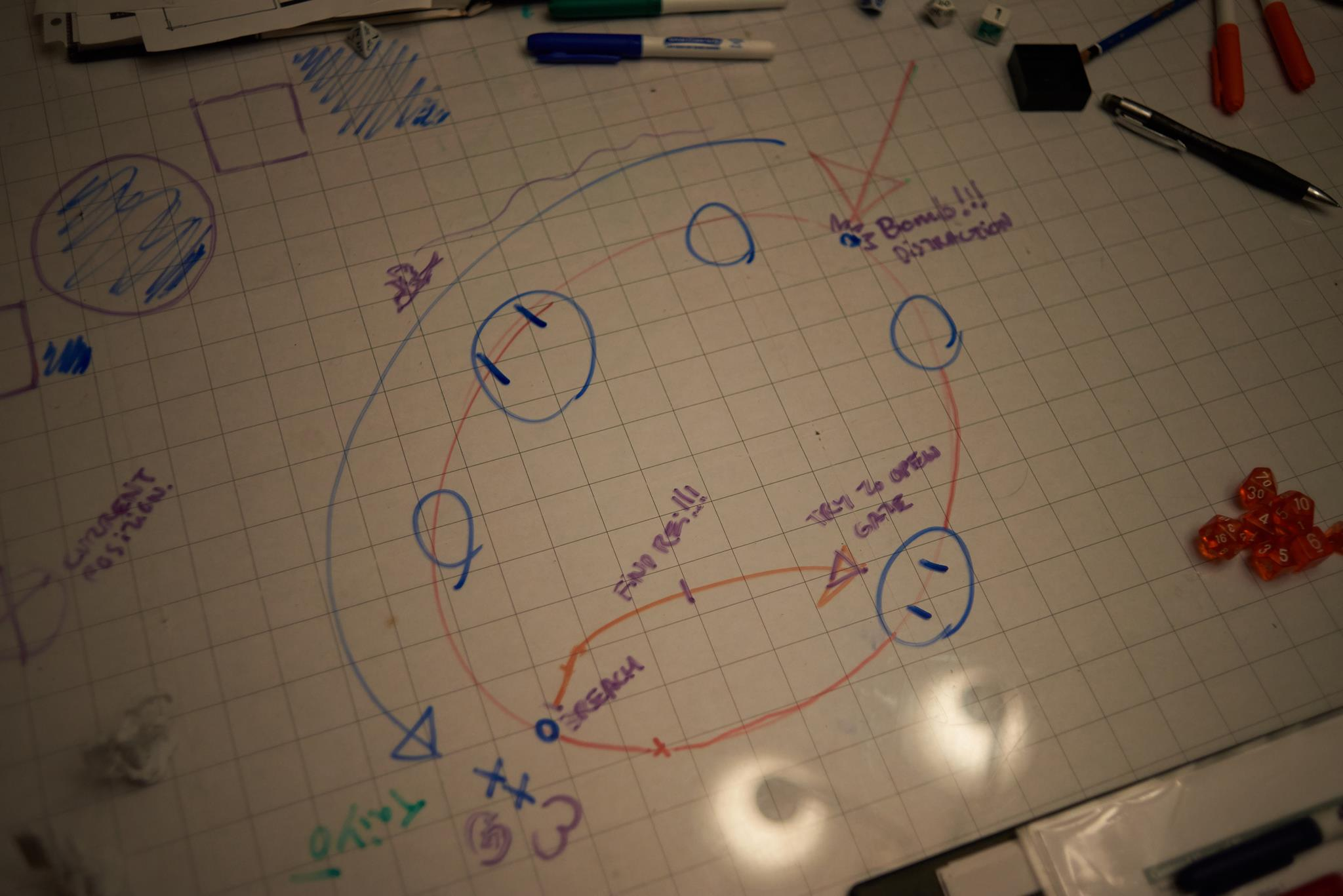 Game map: Graph paper under plexiglass drawn on with whiteboard markers. photo provided by kayetan fiett.