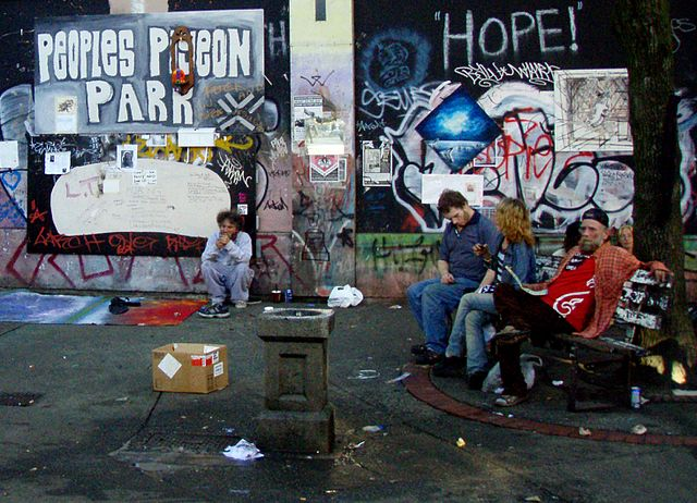 Photo Credit: Wikimedia Commons Pigeon Park in Vancouver's Downtown Eastside