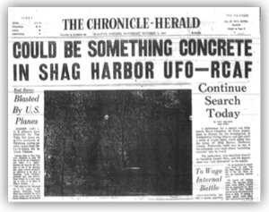 Front page of the Halifax Paper, image courtesy of the Shag Harbour Incident Society