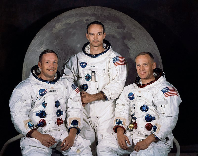 The three American Astronauts of the Apollo 11 Mission: (LEFT TO RIGHT) Neil Armstrong, Michael Collins, Buzz Aldrin. -Taken from Public Domain
