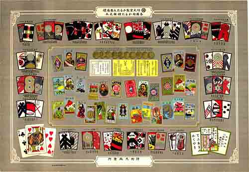 A poster from the Early Days of Nintendo, showing the Company's catalogue of Playing Cards.