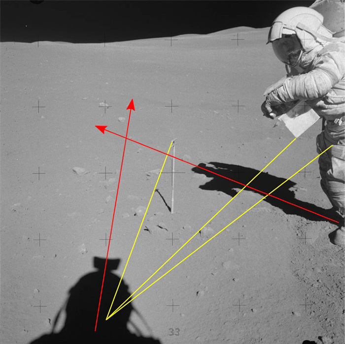 """A picture of a NASA astronaut taken on the moon shows the differing vectors of shadows. Provided by """"Aulis online""""."""""""