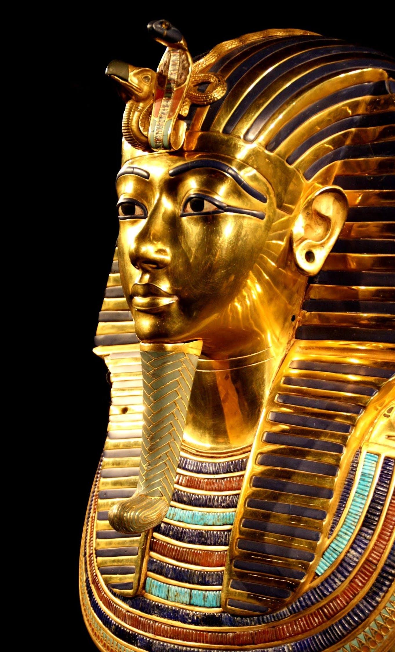 The death mask of King Tutankhamun, a prominent pharaoh.
