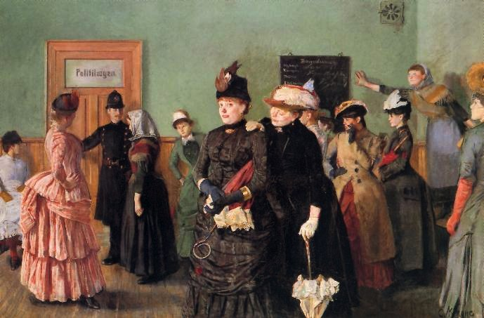 """Christian Krohgs """"Albertine i politilegens venteværelse"""" (1885) har trolig    hentet inspirasjon fra Prindsen i Storgata 36 hvor Elementa har kontorer."""