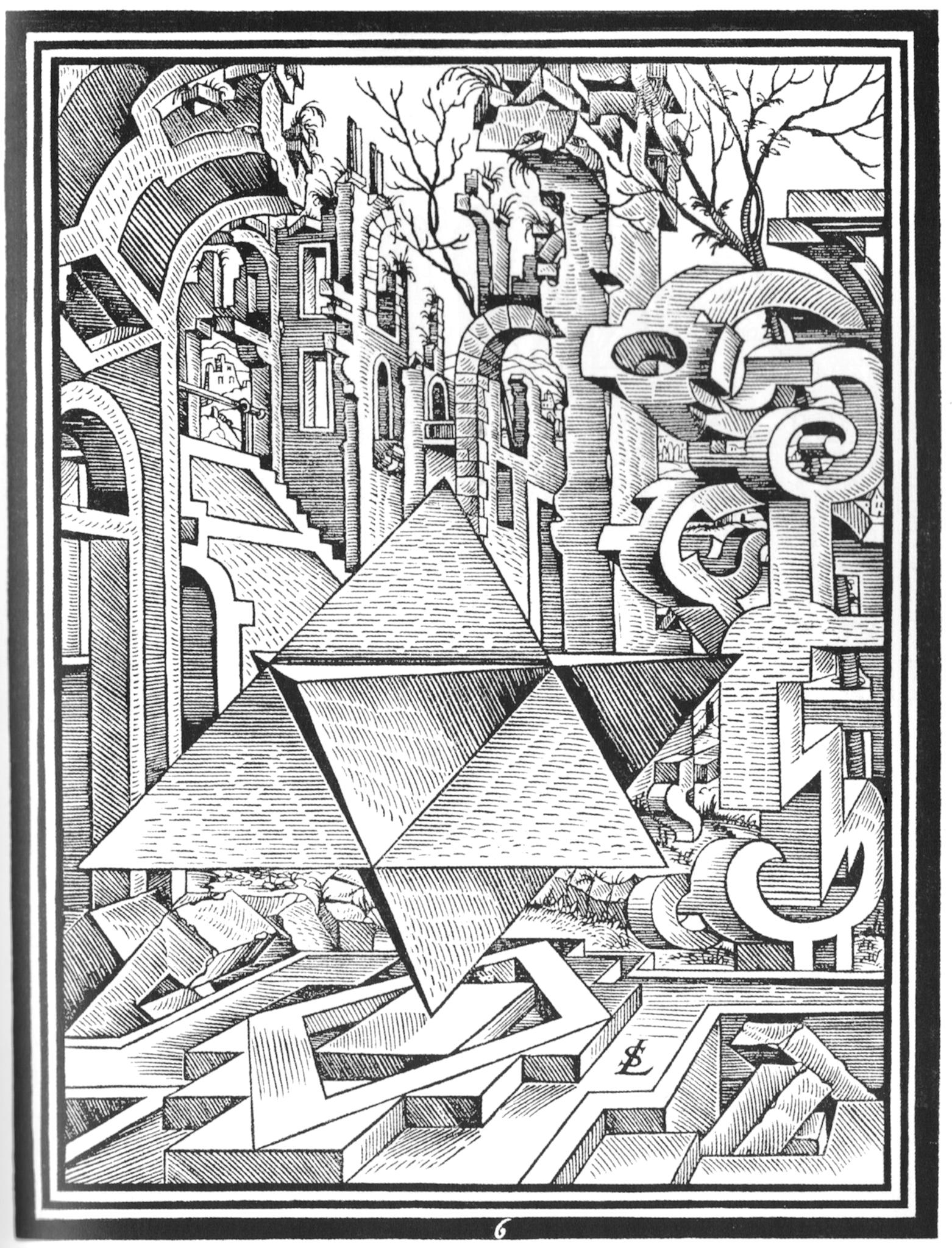 Lorenz Stoers postapokalyptiske ruinlandskap med geometriske figurer.
