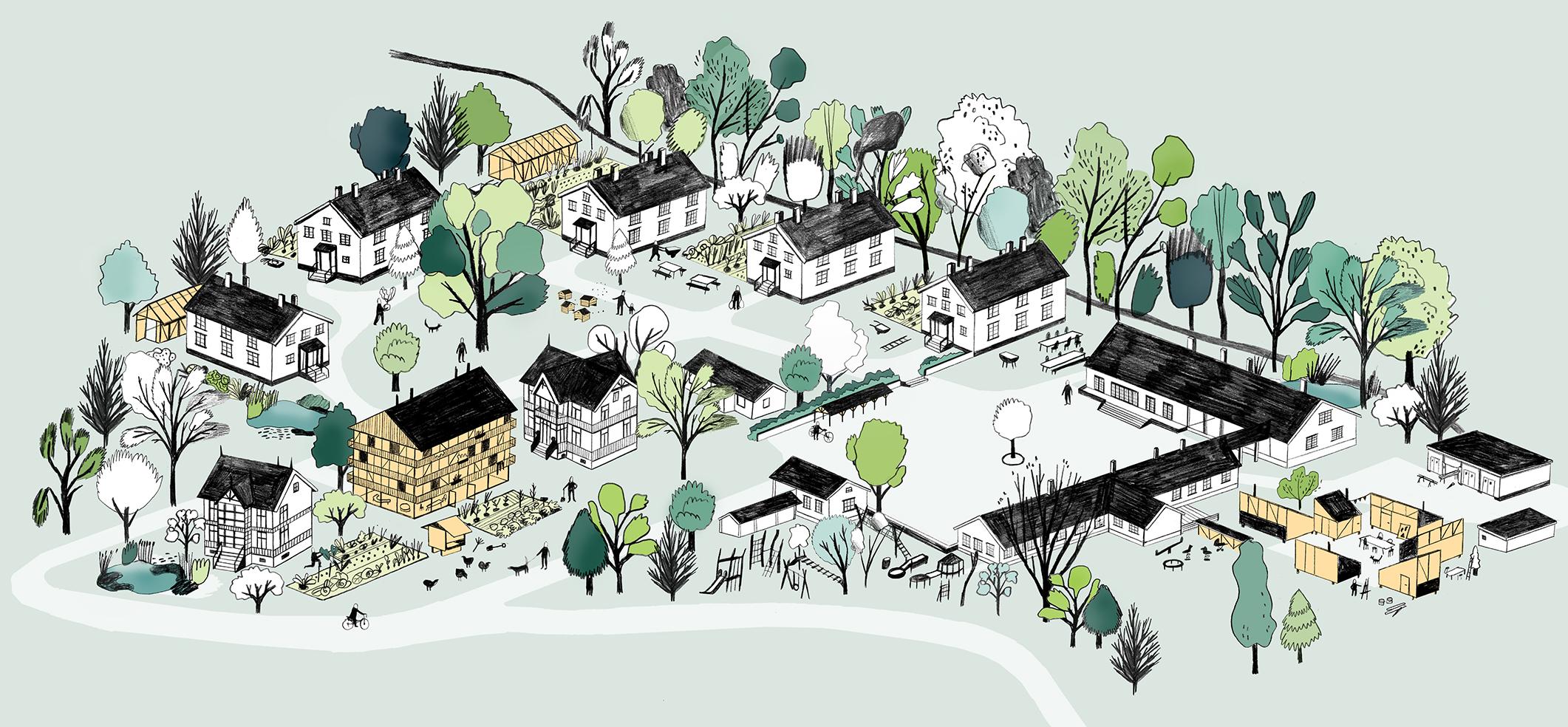 Ormsundveien økogrend. - Illustration Eriksen Skajaa