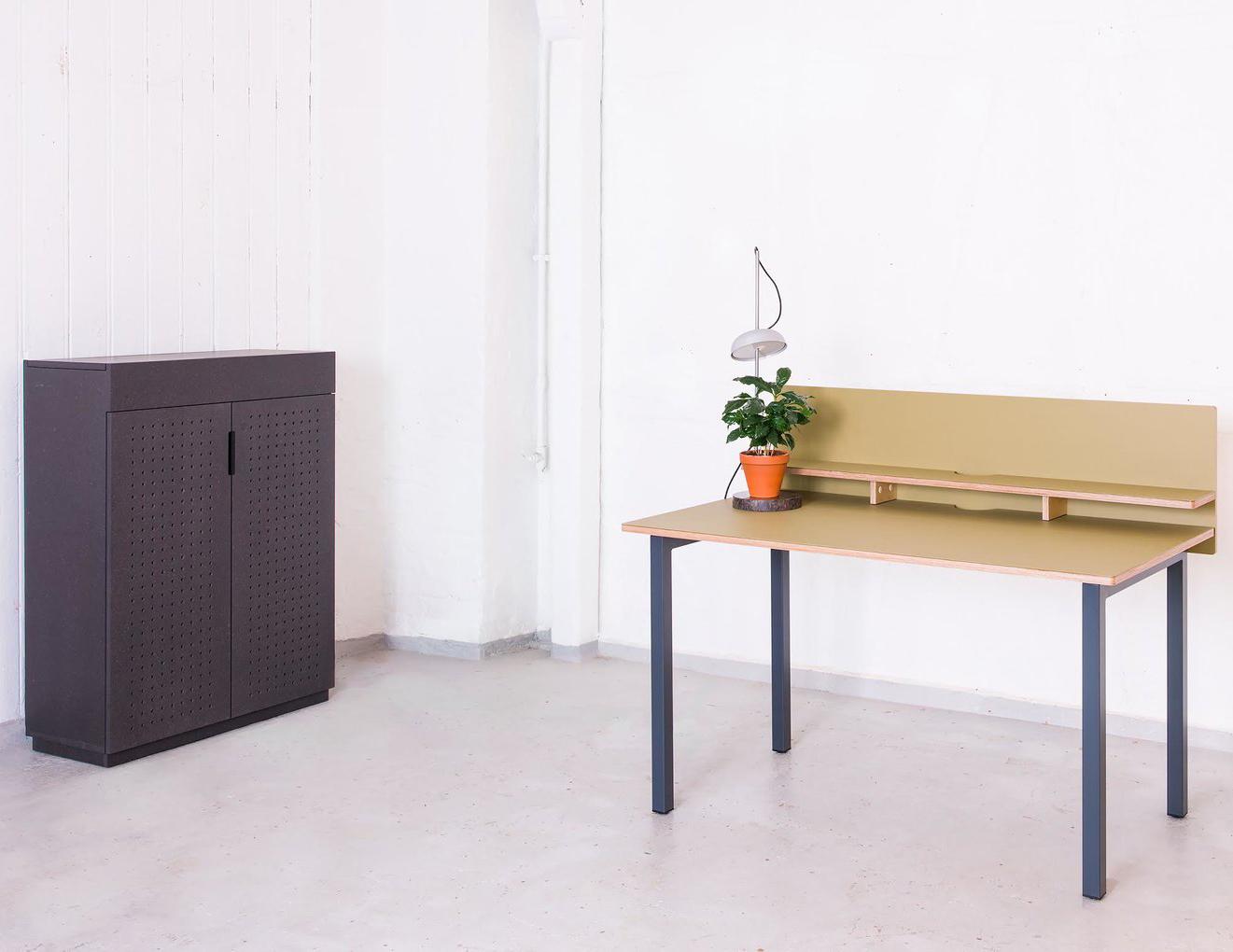 Cabinet designed by Ellen Ledsten - in dye coloured MDF, (Valchromat). Desk by Hallgeir Homstvedt with table desktop in olive green Forbo linoleum.