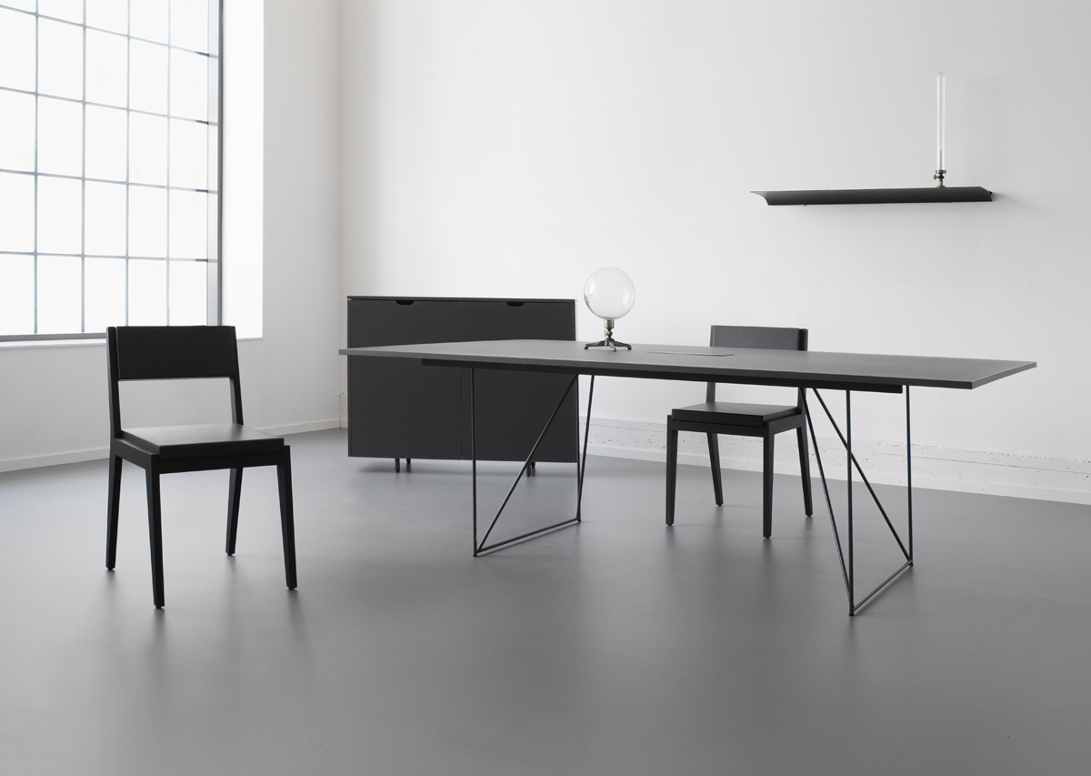 The W1 Wired Table + the O3 Floating Cabinet by StokkeAustad and a singular E1 Exilis shelf.