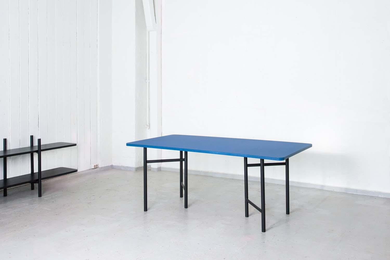 Un Divided Dining Table in blue Forbo Desktop Linoleum. Photo: Svein Gunnar Kjøde