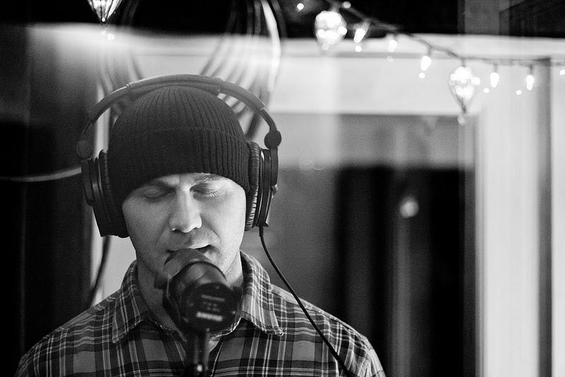 Angelo Delsenno recording vocals at London Bridge Studio.