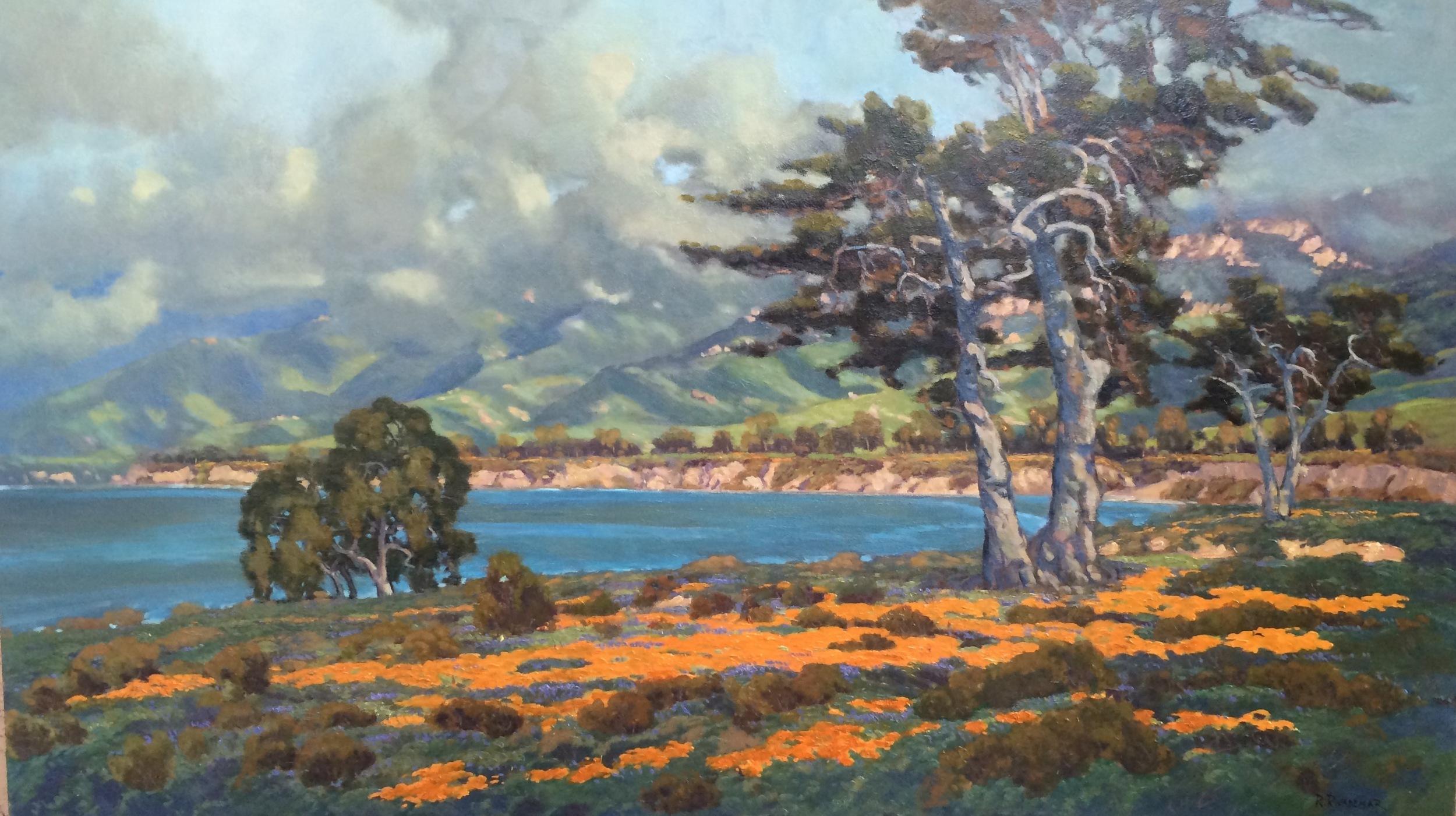 "Overlooking Gaviota, Santa Barbara. Rodolfo Rivademar 26""x46"", oil on panel"