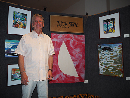 SCAPE's juror for the annual show to benefit the Gaviota Coast Conservancy/Naples Coalition was the accomplished and well-known artist and art teacher, Rick Stich. It was the first year that SCAPE encouraged abstract contributions to the show. Rick teaches and creates both abstract and figurative art, and is known for his work depicting water in both forms. He's recently taken to bright, totally non-objective experimental work.
