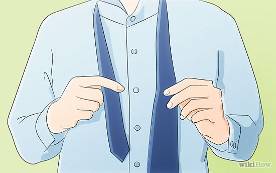 Place the tie around your neck with the wide side on the right side of your body . Adjust the tie so that the length of the wide side is about three times the length of the narrow side.  -You may need to experiment with this step to achieve the right length for the sides of the ties. Some people prefer having the wide side about 12 inches below the narrow side.