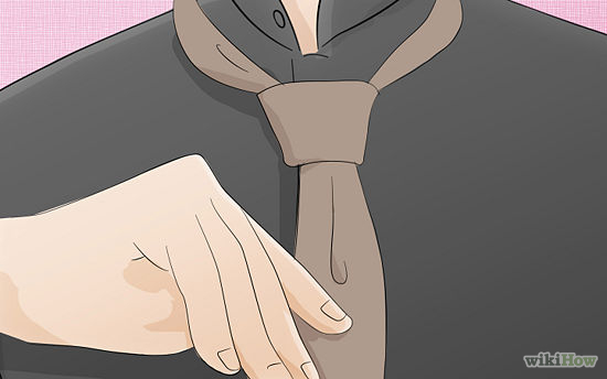 Tighten the knot into a triangle using both hands . Slowly tighten the narrow end to bring the tie closer to the neck.      For a more modern, fashionable and casual look, make the knot a good few inches or centimeters down below the collar. For all formal occasions, however, keep the knot at the traditional distance away from the collar.