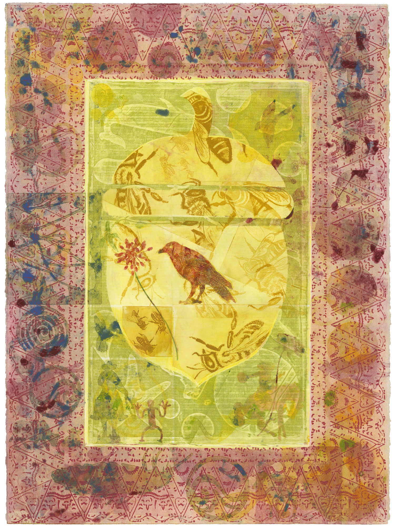 "September's Crow, Monoprint, 22x30"""