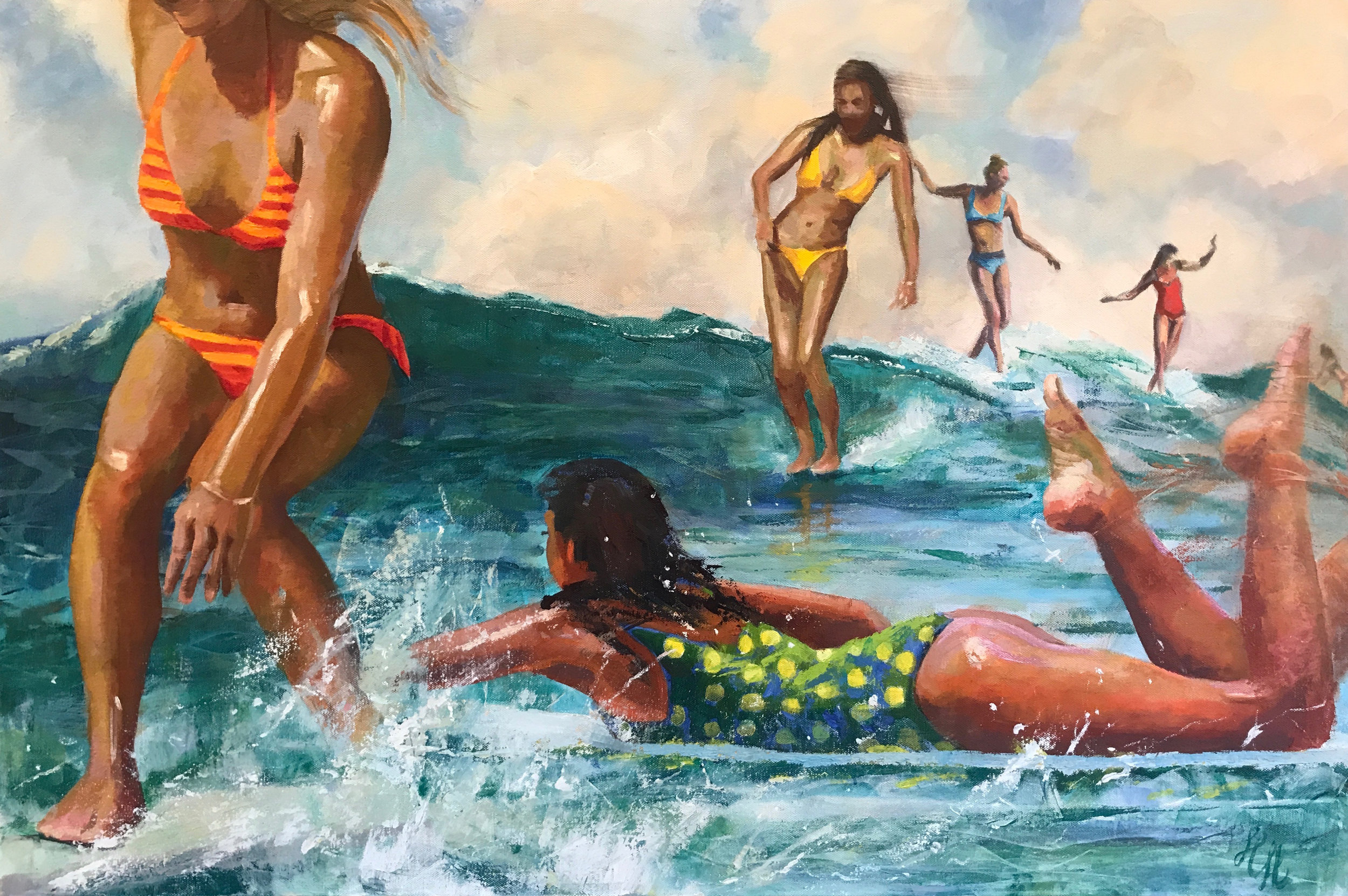 Women Playing in The Surf, oil and cold wax and canvas, by Holli Harmon