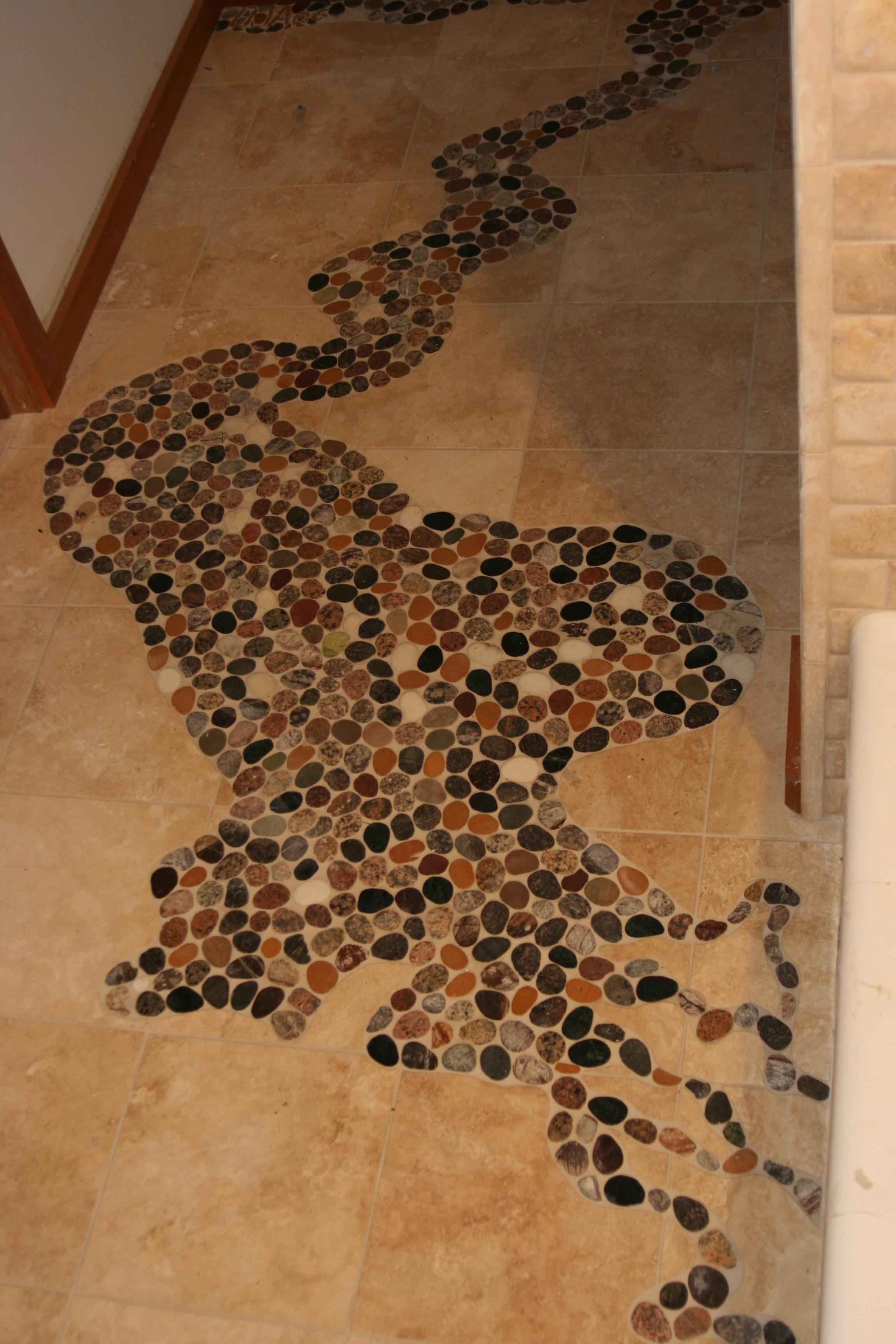 Map of Lake Mallalieu set on kid's bathroom floor