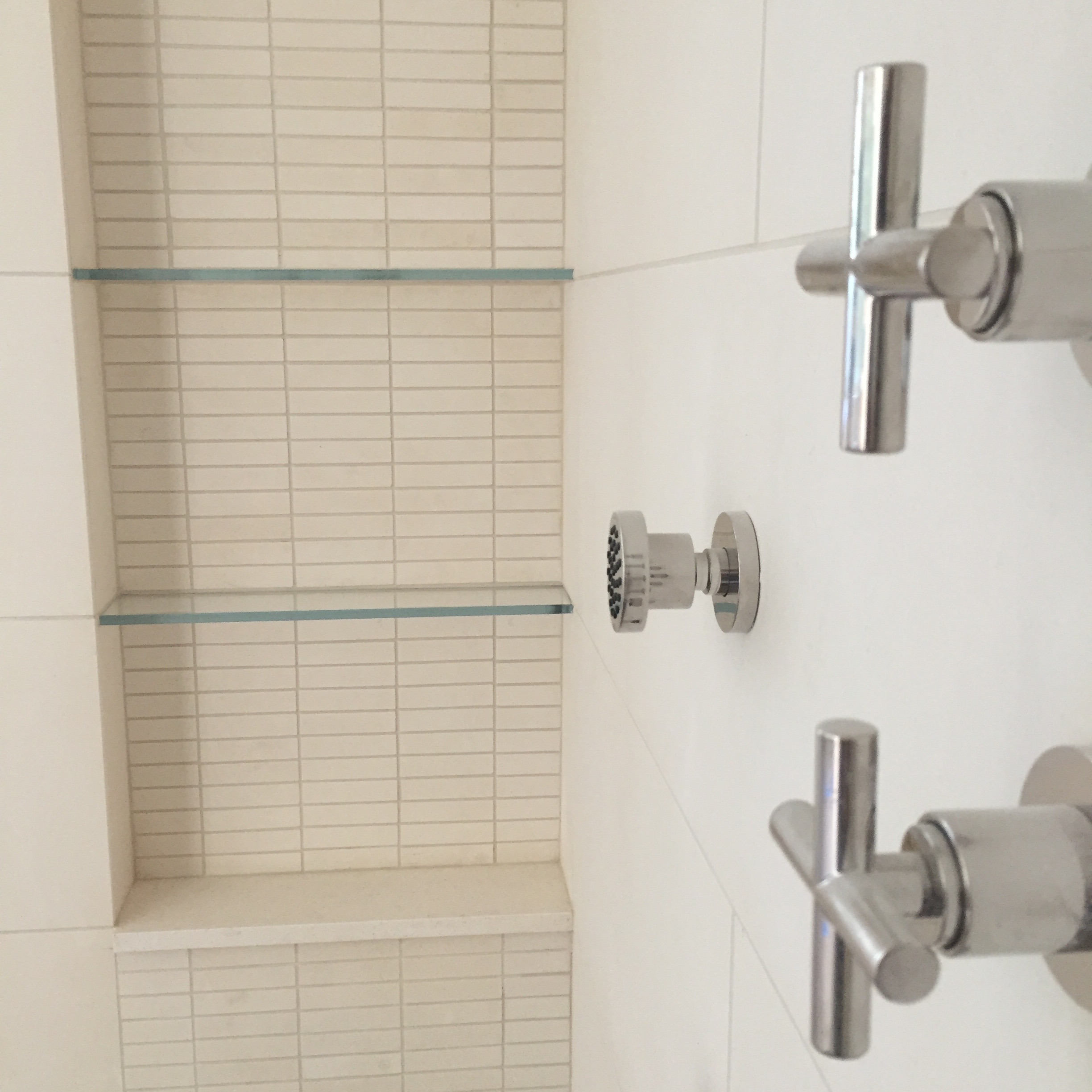 DETAIL:  The shampoo niche was highlighted with a small mosaic tile strip that runs floor to ceiling.  This mosaic is the exact same material as the wall tile, but offers a different texture to the wall.