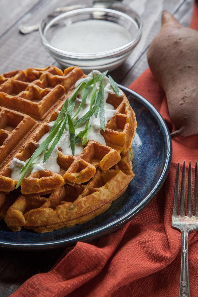 Savory Sweetpotato Waffles with Garlic Crème Fraiche