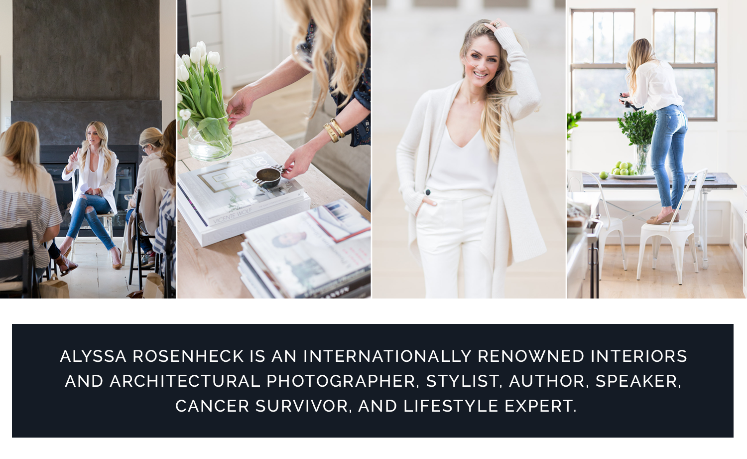 ALYSSA ROSENHECK IS AN INTERNATIONALLY RENOWNED INTERIORS AND ARCHITECTURAL PHOTOGRAPHER,   STYLIST, AUTHOR, SPEAKER, CANCER SURVIVOR, AND LIFESTYLE EXPERT.