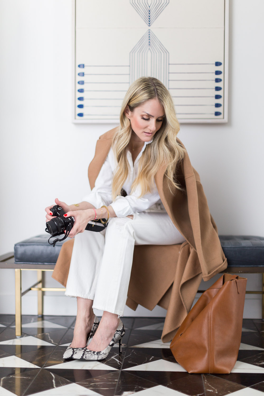 Alyssa Rosenheck The New Southern with Naturalizer - Speaker, Photographer, Cancer Survivor, lifestyle expert National Campaign in Nashville TN - Fall Travel Look  - camel coat - snakeskin pumps