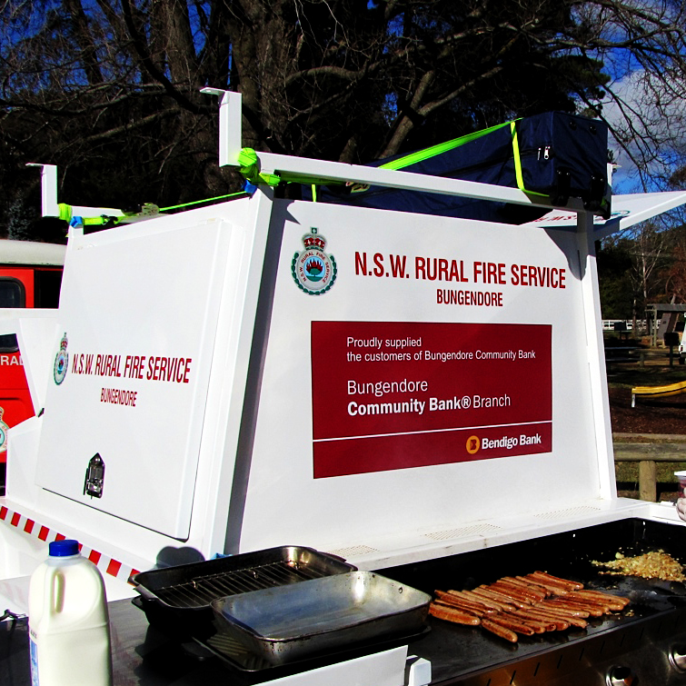 Catering Trailer   Again the  Bungendore Community Bank  made a generous donation to the Brigade to get us over the line on purchasing a custom catering trailer. This has allowed us to feed our people on the fireground, drastically reduced the time spent travelling for meals whilst at incidents - assisting both firefighting efforts and morale!!