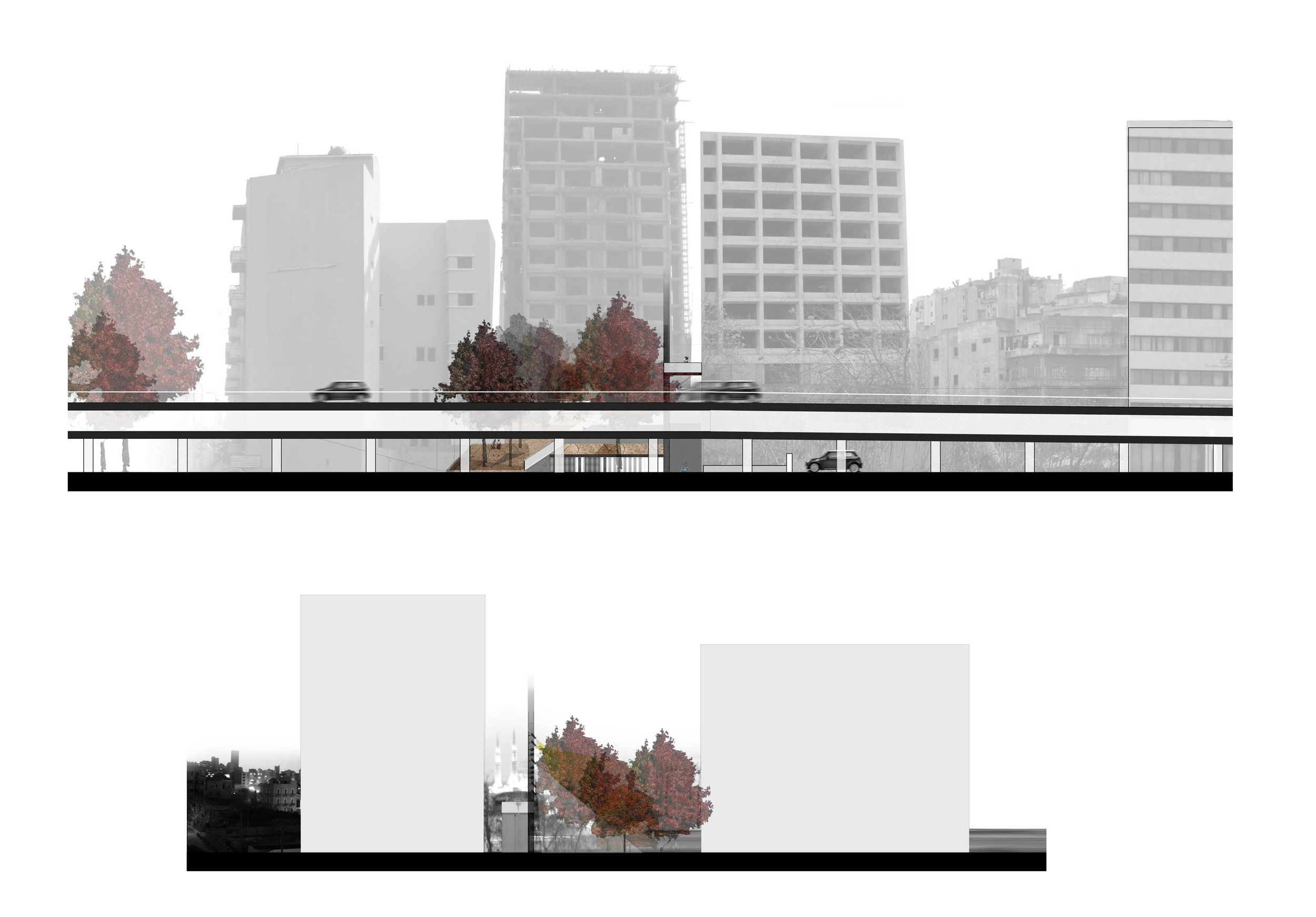 north elevation - view from highway  south elevation - street view from bachoura