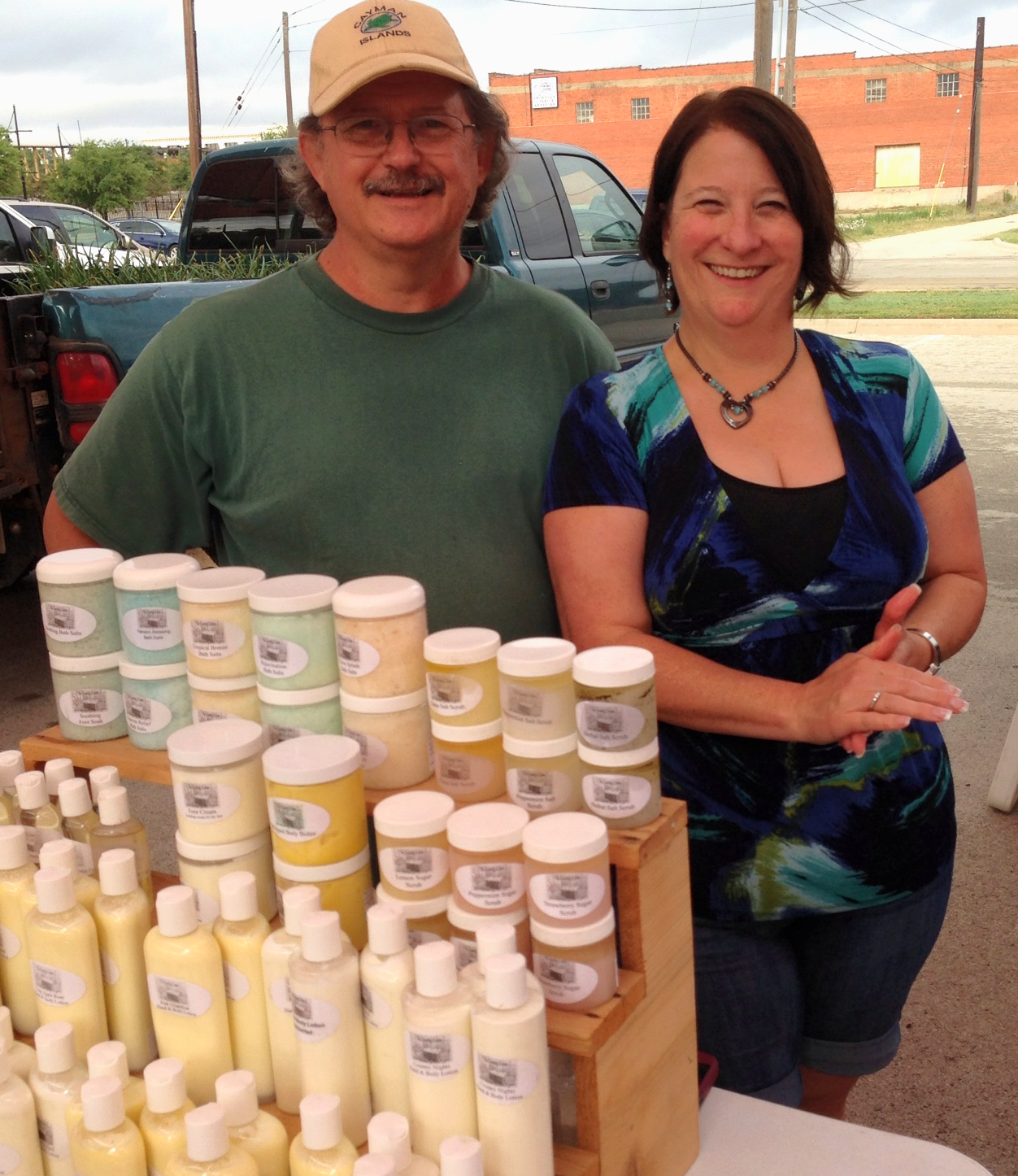 Mike and Patty at the local farmer's market this spring.