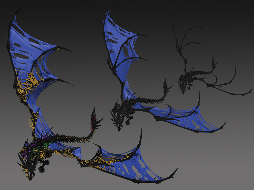 A layered skin solution in nCloth, simulating flesh on an undead dragon. Property of Blizzard Entertainment.