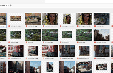 A Google Drive folder full of images and auto-generated thumbnails