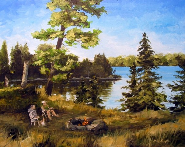 """The finished Painting, """"Sunset Campfire on Toronto Island"""""""