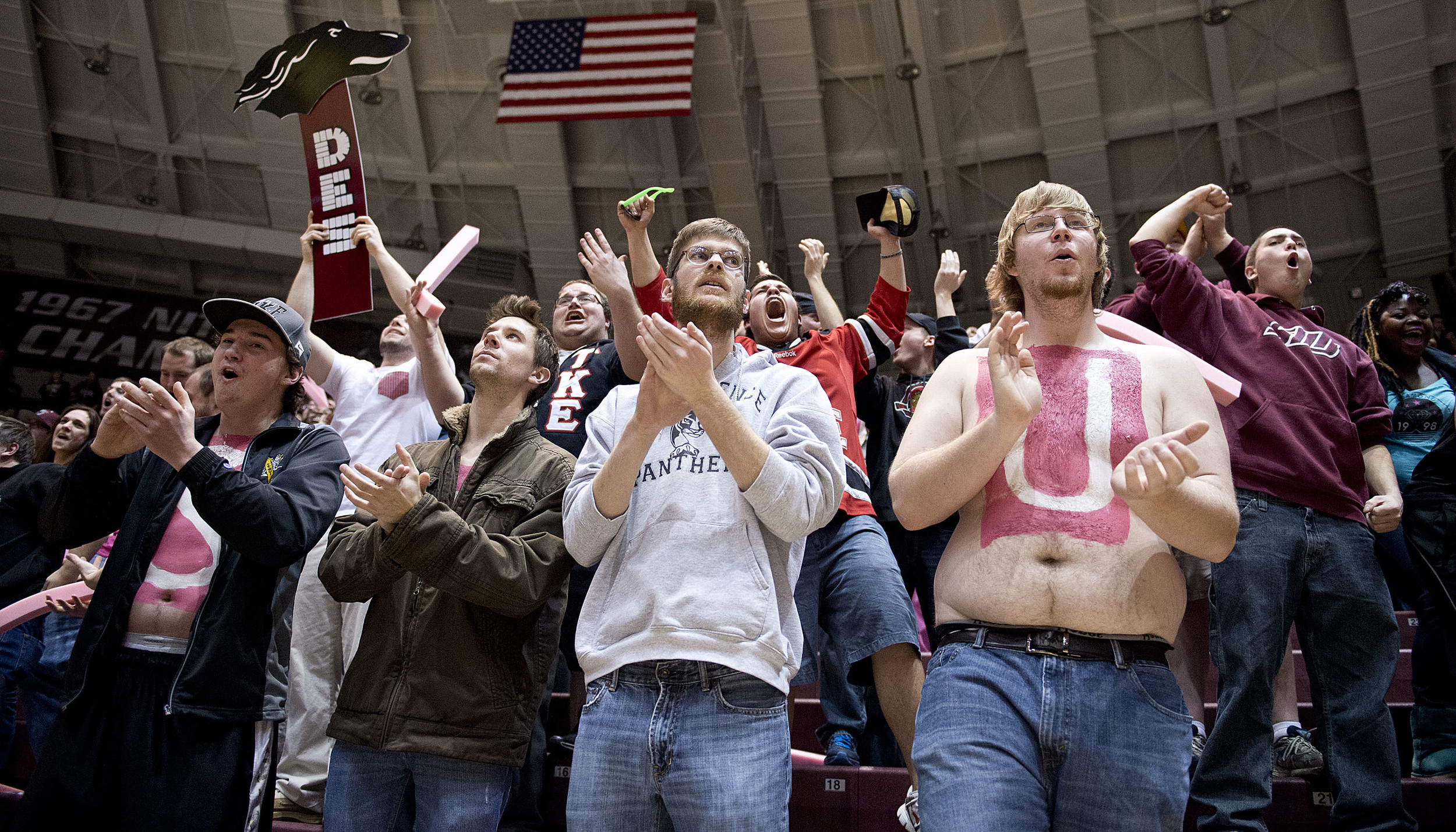 Saluki fans cheer during the final seconds of the game. SIU won 75-64 and it has gave them the sixth seed in the Missouri Valley Conference.