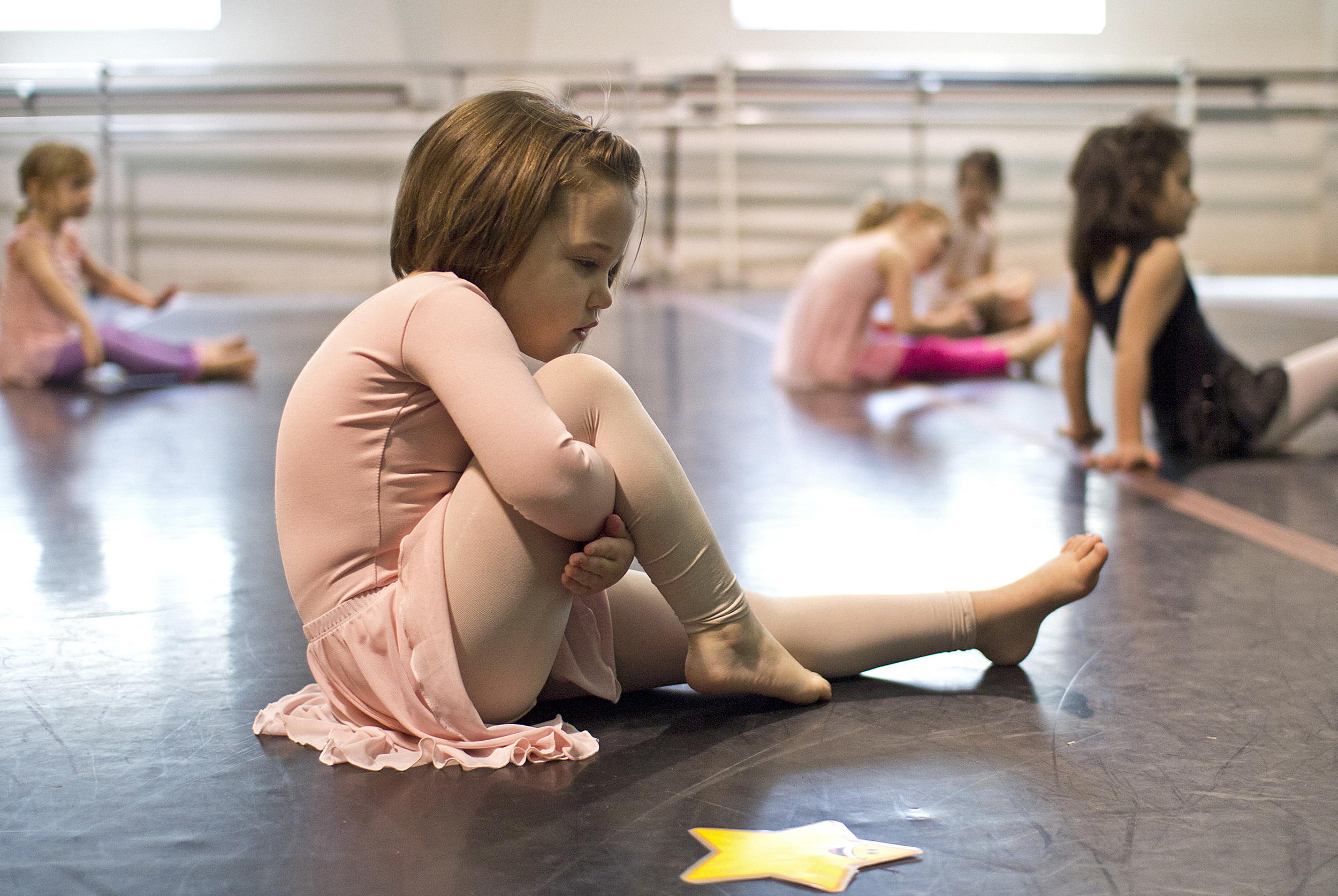 Kamdyn Mathews, 4, of Carterville, Ill., participates in an exercise during a preschool dance class on March18at Willow Street Studios in Carbondale, Ill.
