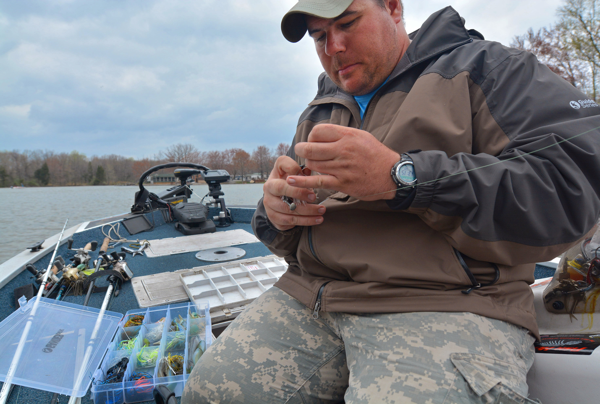 Aaron Connor, of Murphysboro, Ill., fishes during the fifth-annual Saluki Bassers Veterans Appreciation Fishing Tournament on April13at Lake of Egypt in Marion, Ill.