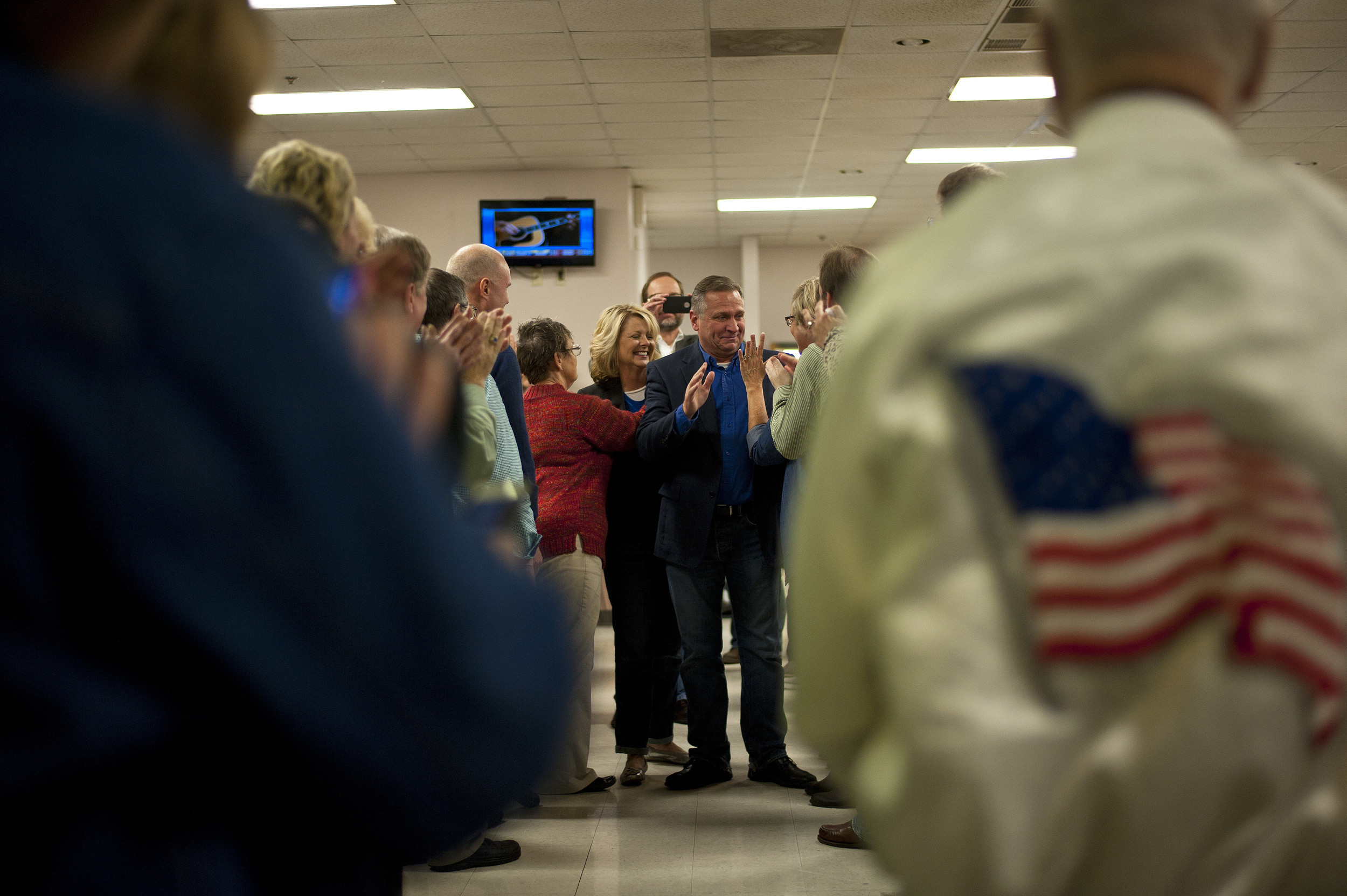 Mike Bost (R-Murphysboro) walks through the aisle of supporters after winning the Illinois 12th Congressional District against Bill Enyart (D-Belleville). Bost is the first Republican to represent the Illinois 12th Congressional District since 1993, and is the first Republican in 70 years to serve Southern Illinois in Congress.